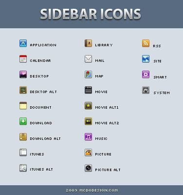 iPhone style sidebar icons
